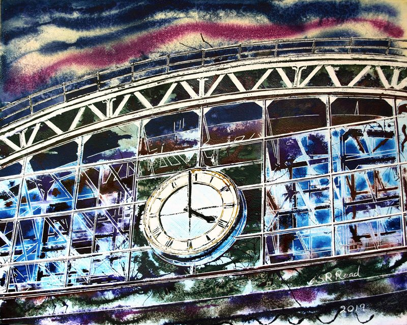 Contemporary Urban paintings ofManchester Central Painting of the Station - ©2019 - Cathy Read - Watercolour and Acrylic - 40 x 50 cm