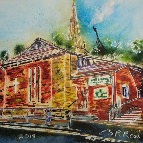 Painting of Well Street Church - ©2019 - Cathy Read -Watercolour and Acrylic - 17.8x17.8cm Sold