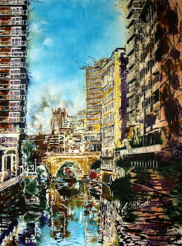 Painting of the Irwell in Manchester Irwell Reflections by Cathy Read - Watercolour and acrylic ink - ©2019