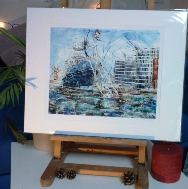 Packaged A4 print on HMS Belfast