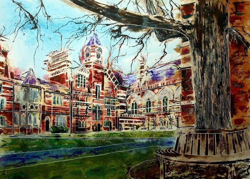 Painting of Keble College, Oxford - ©2013 - Cathy Read -Watercolour and Acrylic- 55 x 75 cm