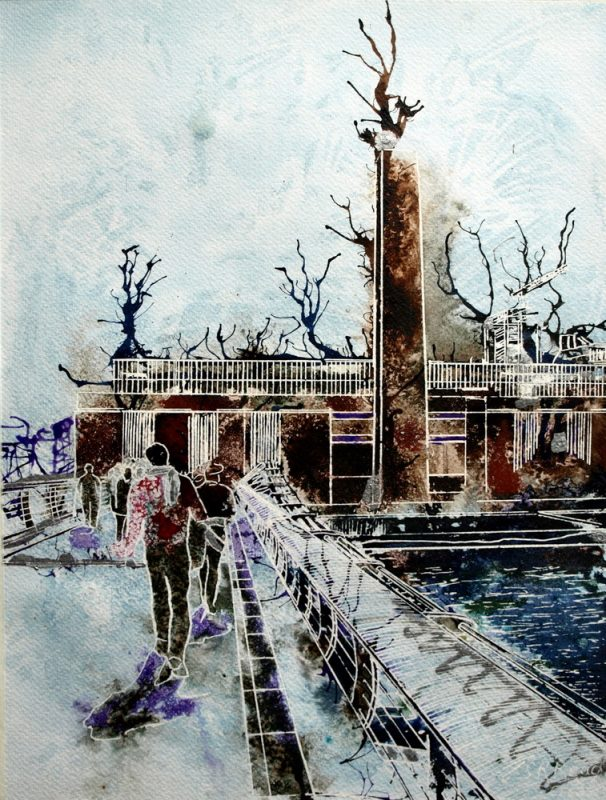 Painting of people walking accross the Millenium Bridge towards the Tate ModernWhat's on at the Tate? - ©2013 - Cathy Read - Watercolour and Acrylic - 38 x 28 cm
