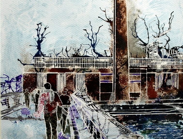Tate Modern Painting of people walking accross the Millenium Bridge towards the Tate ModernWhat's on at the Tate? - ©2013 - Cathy Read - Watercolour and Acrylic - 38 x 28 cm
