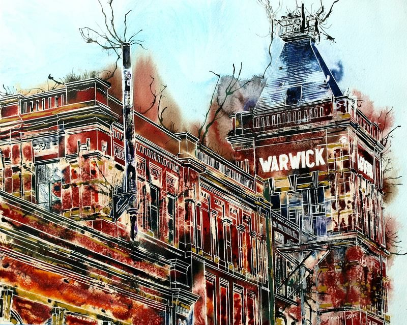 Painting of Warwick Mill in Middleton one of Manchester's old Cotton Mills Warwick Mill - ©2015-Cathy-Watercolour-and-Acrylic-ink-40cm x-50cm