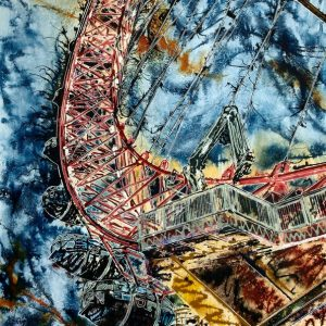 London Eye - ©2017 - Cathy Read - 91x61 cm - Acrylic on paper on board