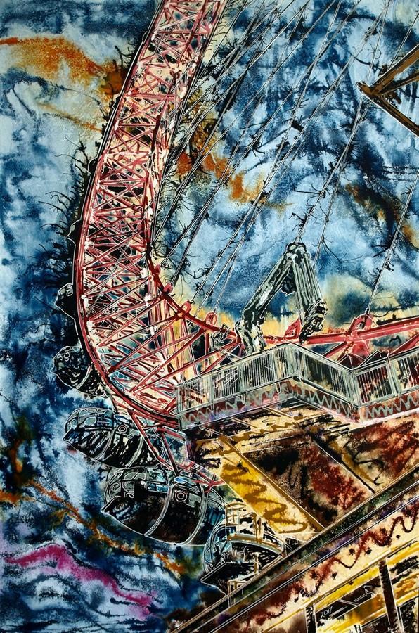 London Eye - ©2017 - Cathy Read - 91x61 cm - Acrylic on paper on board