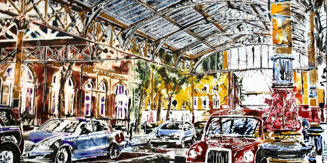 Paintng of Marylebone station Taxi rank with taxis and buildings beyone.Marylebone Station -©2017 - Cathy Read - Watercolour and Acrylic - 51 x 61cm