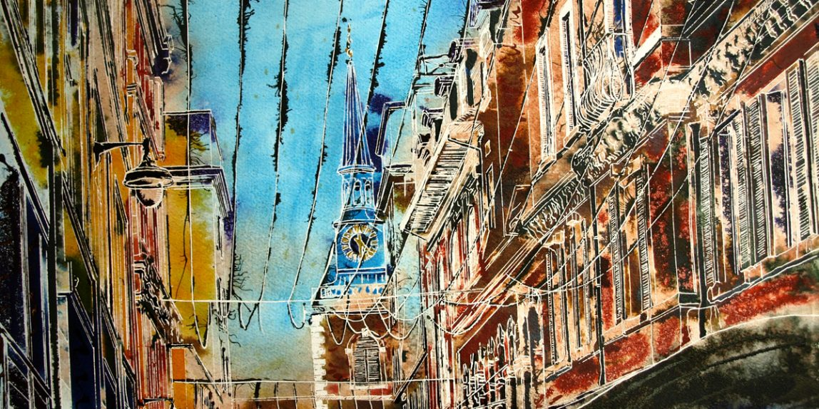 ©2019 - Cathy Read - Blue Spire of St James - watercolour and acrylic ink - 42 x 59 cm 1200