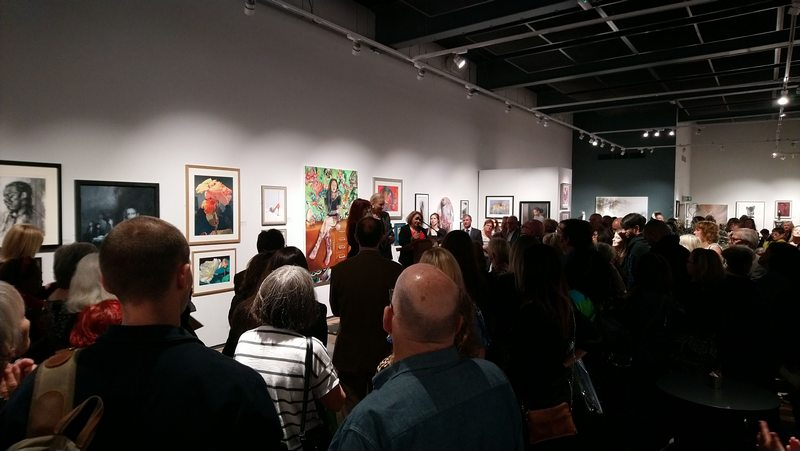 Speeches in Main Gallery ©2019 - Cathy Read - SWA exhibition at Mall Galleries