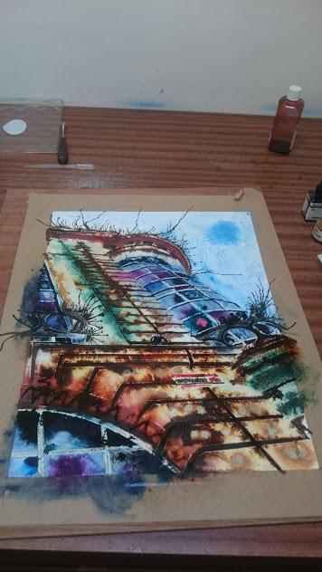 Haymarket-Corner-work-in-progress©2016-Cathy-Read--Watercolour-and-Acrylic-40-x-50-cm