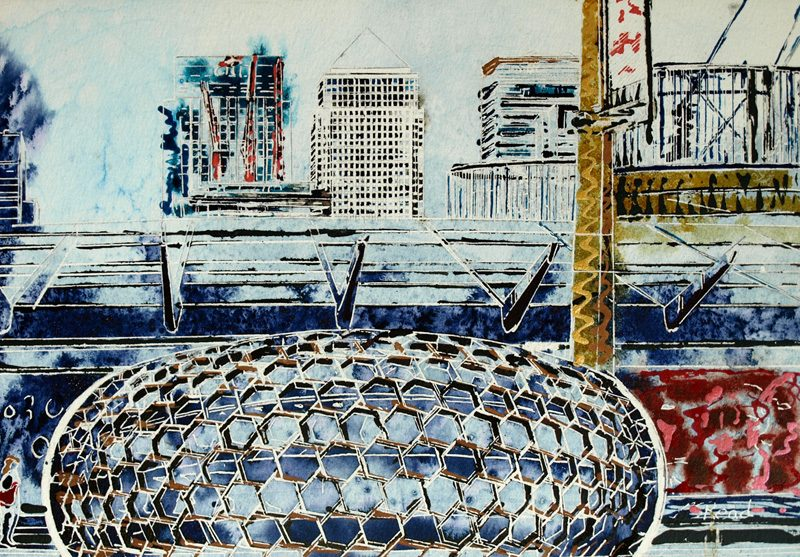 Canary Wharf - ©2019 - Cathy Read - Watercolour and Acrylic - 25.5 x 35.7 cm