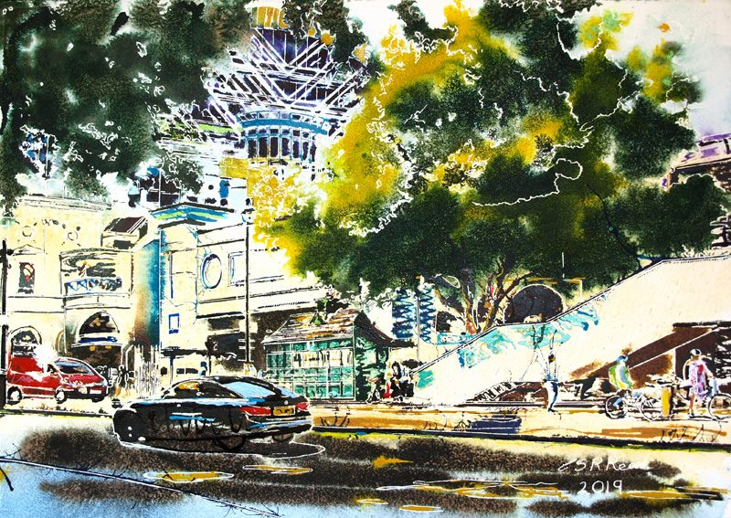 Northumberland Avenue - ©2019 - Cathy Read - Watercolour and Acrylic