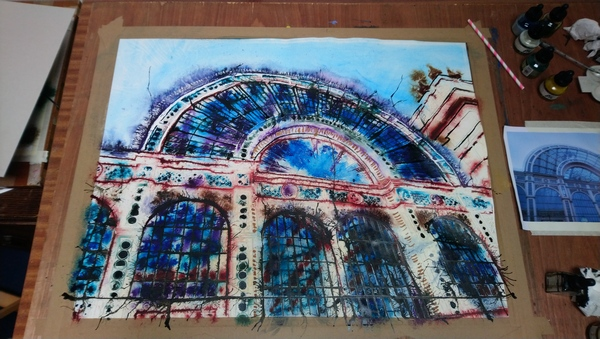 Painting of the Royal Opera House London, unfinished- ©2019 - Cathy Read - Watercolour and Acrylic - 56x76cm
