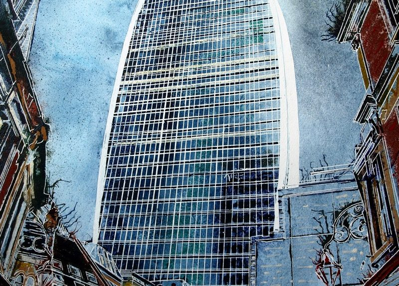 Walkie Talkie painting of 20 Fenchurch Street, London- ©2019 - Cathy Read - 50x40cm