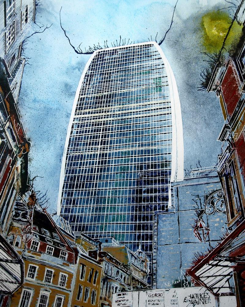 Walkie Talkie painting of 20 Fenchurch Street, London- ©2019 - Cathy Read - 50x40cm