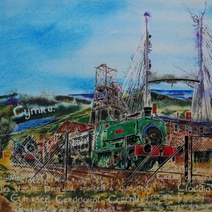 Welsh industry painting. Painting of steam train, Big Pit, Snowdon, Welsh words and other symbols ofWelsh Industry - ©2019 - Cathy Read - Watercolour and Acrylic - 56 x 76 cm