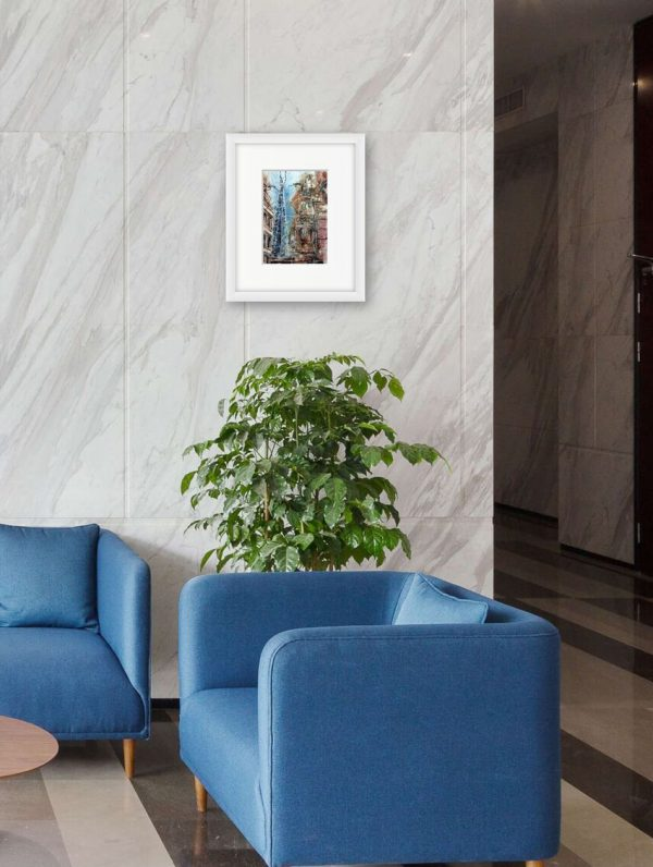Room setting with Hidden Shard Painting by Cathy Read