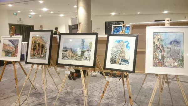 Cathy Read's original paintingins on display at The Lowry Hotel, Manchester The GEA Nordoff Robbins Charity Art Ball 2018 ©2018 - Cathy Read