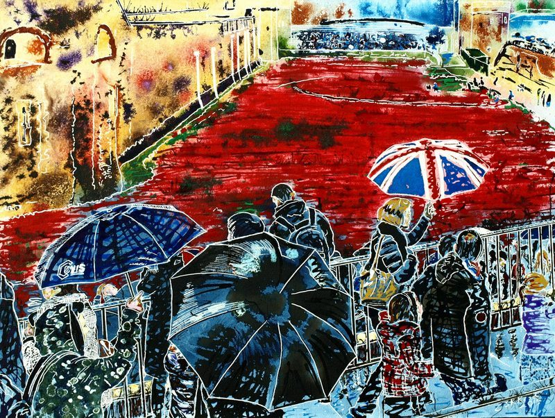 Painting of The people and brollies in the queue to see the poppies at the Tower on a rainy day.©2015-Cathy-Read-National-Memorial-Watercolour-and-Acrylic-61x45-cm