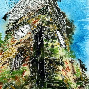 Painting of the Wooden Tower of St Leonards Church in Middleton by Cathy Read. Painted in Watercolour and acrylic ink