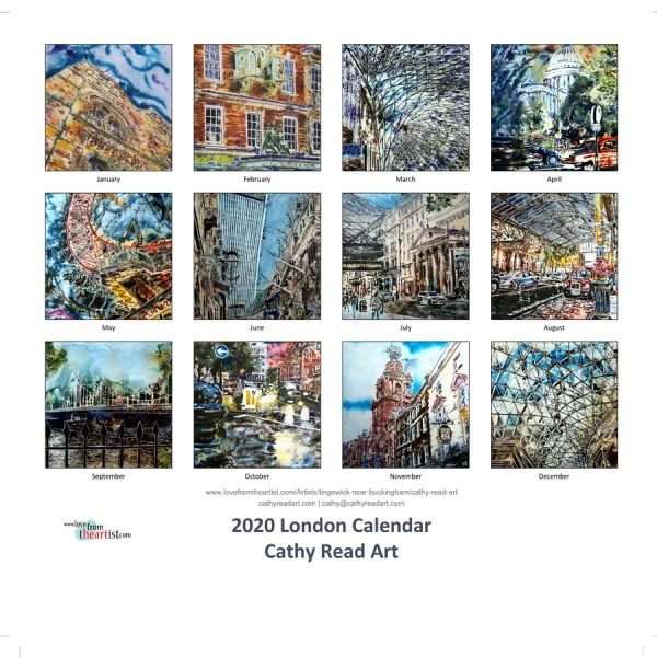 2020 London Calendar of Paintings of London by Cathy Read Art Image of month paintings