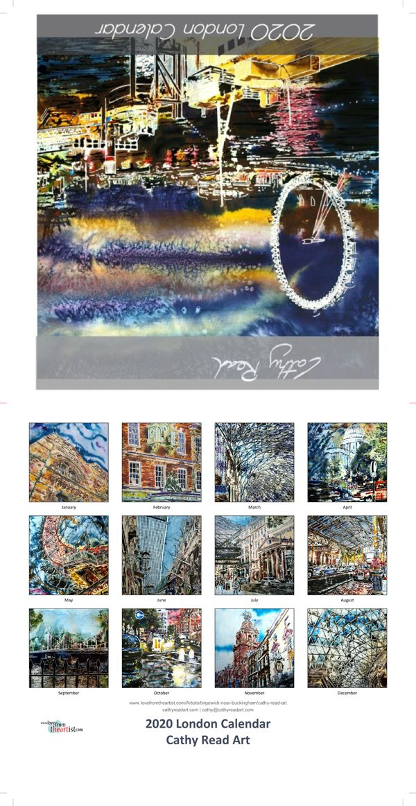 2020 London Calendar of Paintings of London by Cathy Read Art