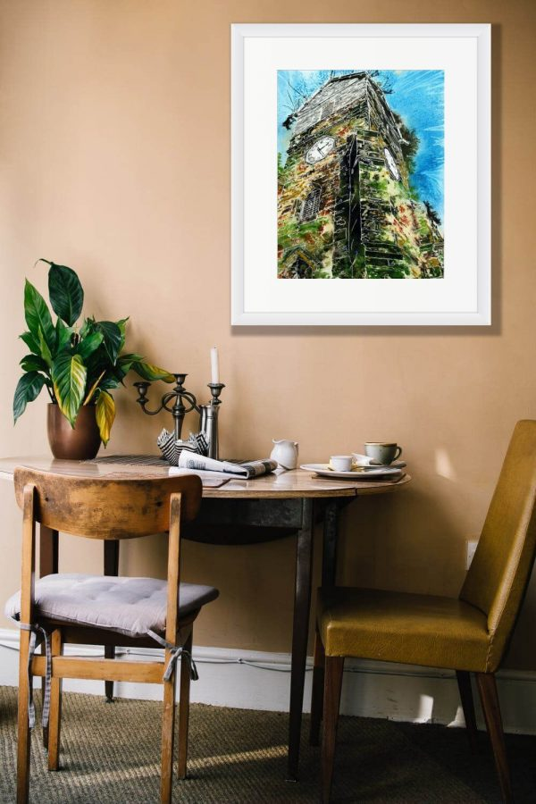 Room Setting with Painting of Wooden Tower of St Leonards by Cathy Read
