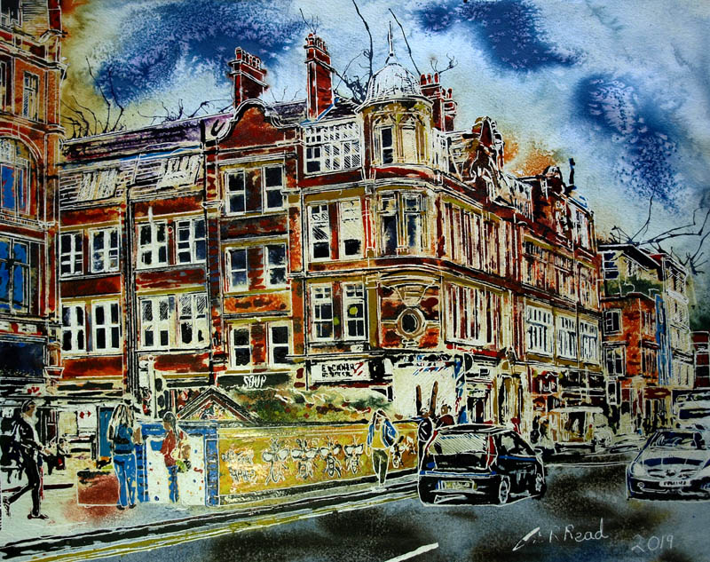 Painting of Stevenson Square with the graffitiBees - 50 x 40cm ©2019 Cathy Read