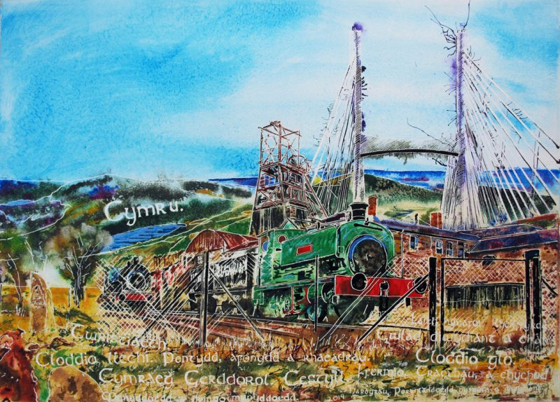 Welsh industry painting. Painting of steam train, Big Pit, Snowdon, Welsh words and other symbols of Welsh Industry - ©2019 - Cathy Read - Watercolour and Acrylic - 56 x 76 cm
