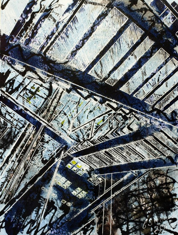 Hints of Science Fiction Painting of the staircase in Manchester City Art Gallery©2013 - Cathy Read - Hints of Science Fiction - Watercolour and Acrylic - 38 x 28 cm