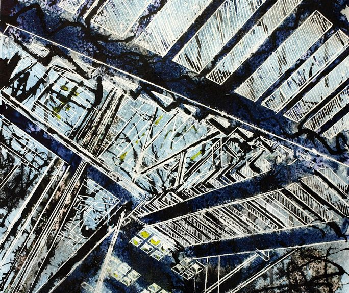 Painting of the staircase in Manchester City Art Gallery©2013 - Cathy Read - Hints of Science Fiction - Watercolour and Acrylic - 38 x 28 cm