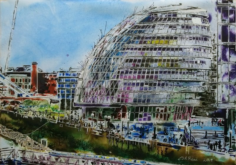 Painting of the South Bank of the Thames in London featuring City Hall - ©2019 Cathy Read 76 x 56 cm