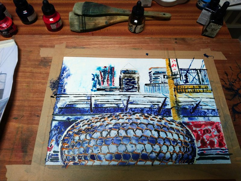 Progress stage of Canary Wharf painting- ©2019 - Cathy Read - Watercolour and acrylic ink WIP3