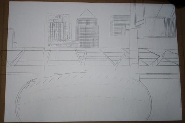 Art Creation in progress of Canary Wharf painting