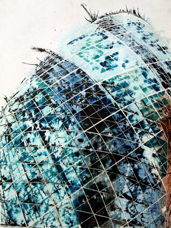 #GherkinPainting Painting of the #Gherkin in London©2012 - Cathy Read -Touching the sky - Mixed media-75x55cm