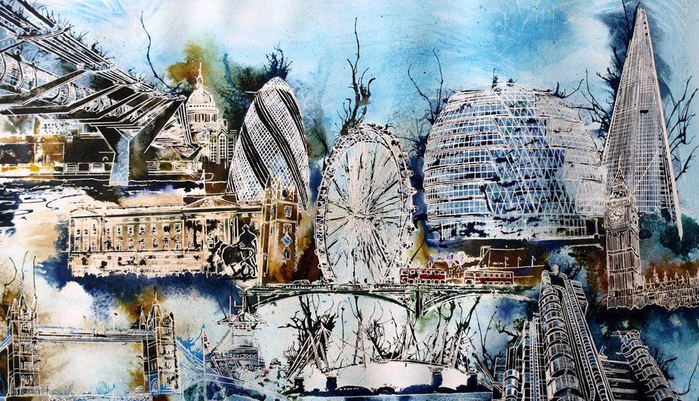 Painting of Iconic London Architecture in a photo montage style©2013 - Cathy Read -Sketching London - Watercolour and Acrylic - 55x75cm