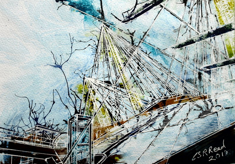 Painting of the walkway over the millennium Dome ©2013 - Cathy Read - Walk the Dome - Watercolour and Acrylic - 29.7 x 21 cm