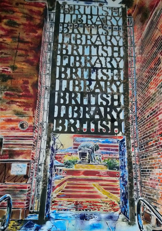 British Library gates painting looking through the written gates to the sculpture beyond