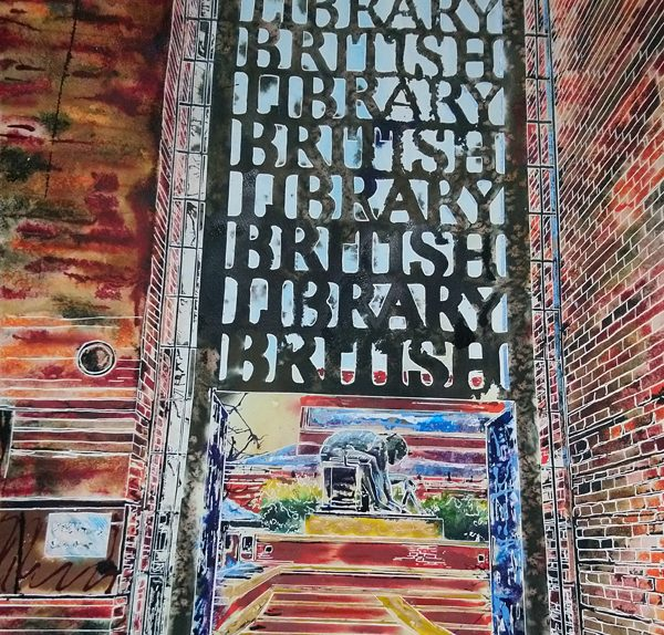 Painting of the gates at theBritish Library
