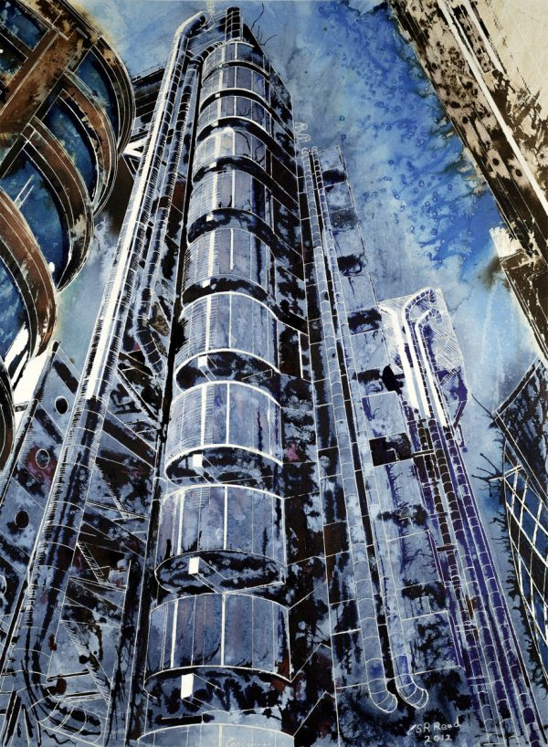Painting of the Lloyds buidning in London©2012 - Cathy Read - The Lloyds Building - Mixed media-75x55cm