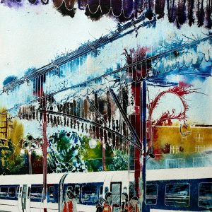 Painting of Marylebone station platform with a train in the station and people standing on the platformThe journey begins- ©2012 - Cathy Read - Mixed media - 75 x 55 cm