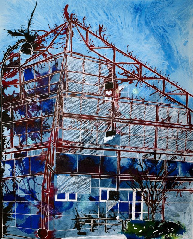 Painting of the Point in Milton Keynes©2012 - Cathy Read - The Vision of Milton Keynes - Mixed Media - 50 x 40 cm