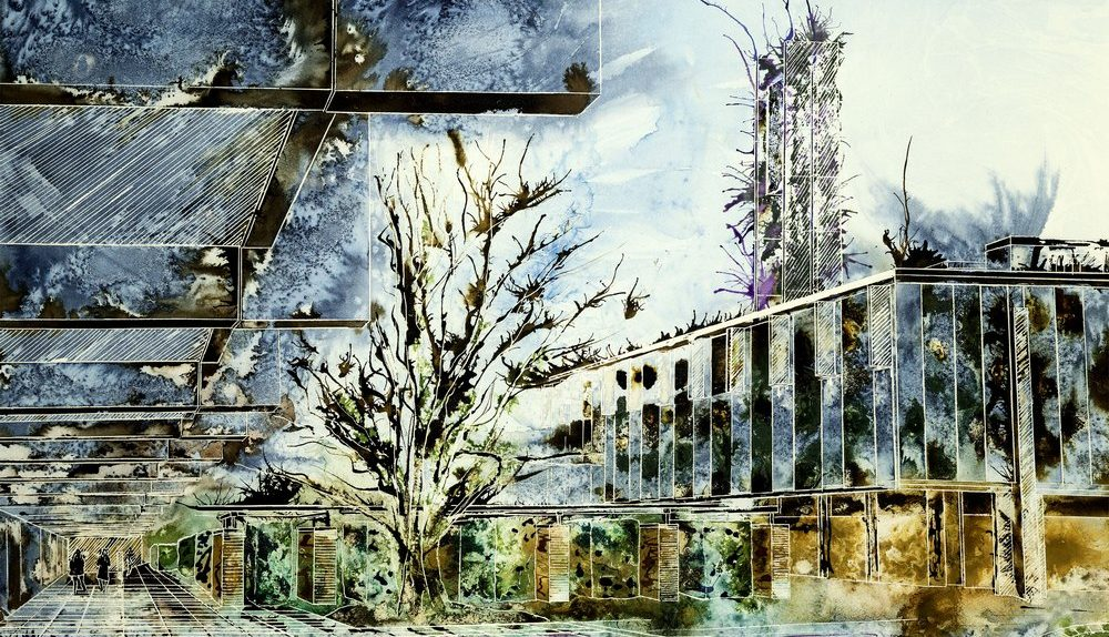 Painting of Catz Oxford Watercolour and acrylic ink painting ofSt Catherine's Main Quad - ©2013 - Cathy Read - Watercolour and Acrylic- 55 x 75 cm