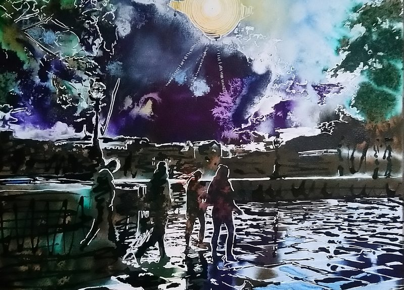 Painting of people walking along the Embankment in London after the rain and with the sun shining overhead. After the rain- ©2020 - Cathy Read - Watercolour and Acrylic - 50 x 40 cm