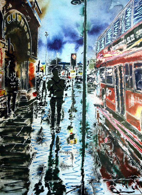 Painting of rainy reflections on the pavement near St Pancras with a London Bus and people with umbrellasSt Pancras Reflections - ©2020-Cathy Read-Watercolour and Acrylic