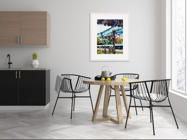 Room setting with a painting of Marylebone Station platform and a train