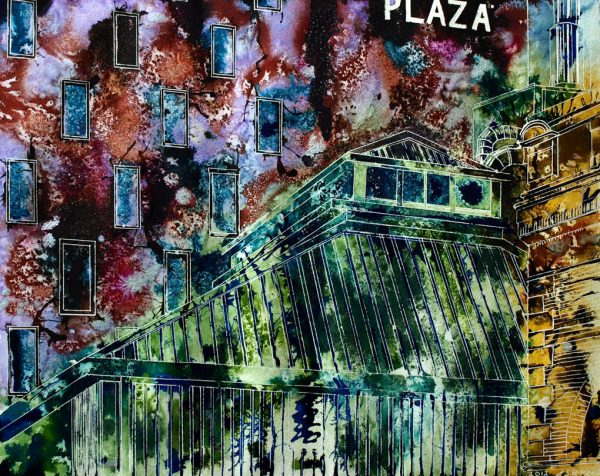 Painting of the Royal exchange Theatre costume store and Crowne Plaza Hotel in ManchesterHot Tin View -©2012 Cathy Read - Watercolour and acrylic ink - 40x50cm