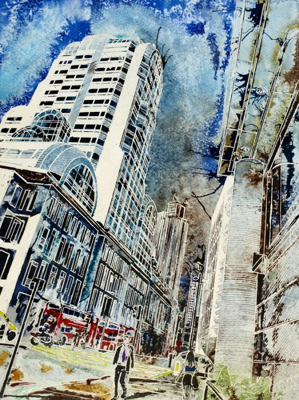 painting of Gracechurch Street Paved with gold ©2013-Cathy-Read-Paved-with-Gold-Watercolour-and-Acrylic-38-x-28-cm