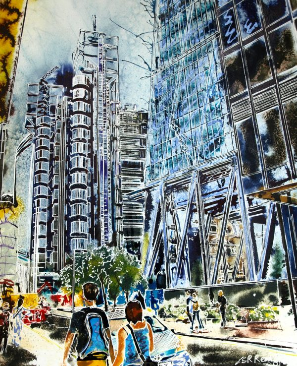 Painting of a couple walking by the Cheesegrater towards the Lloyds building in London