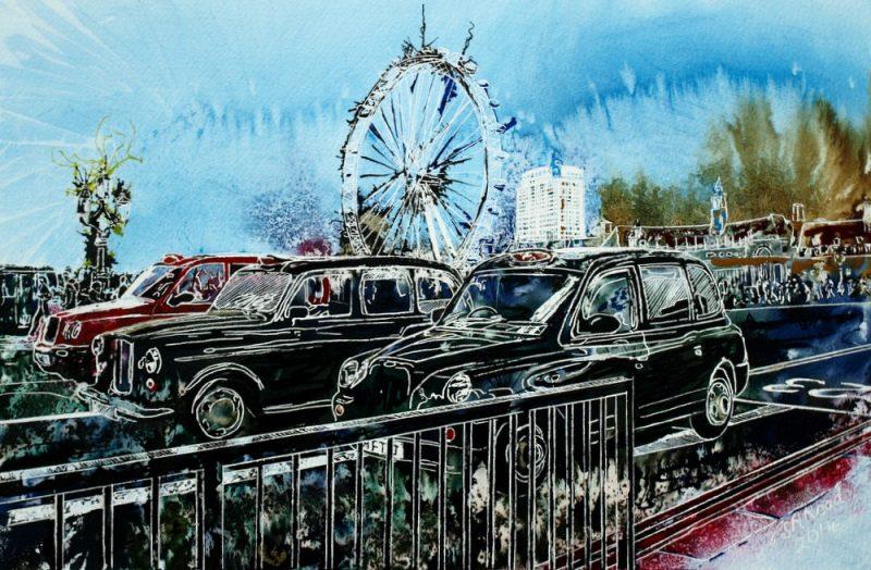 Taxi-Marathon 2-©2014-Cathy Read-Watercolour-and-Acrylic-45-x-60